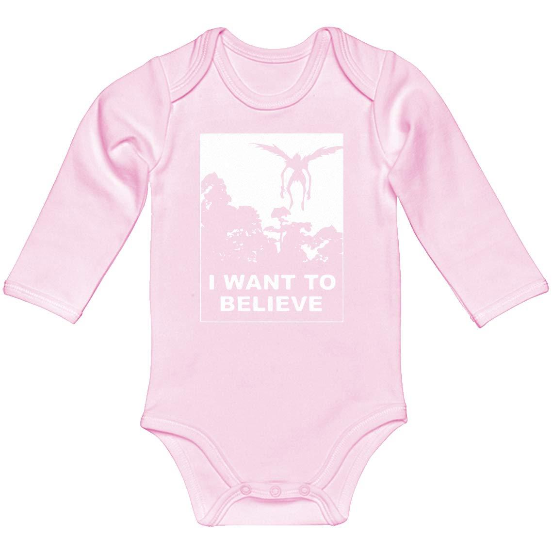 Indica Plateau Baby Onesie I Want to Believe Shinigami 100/% Cotton Long Sleeve Infant Bodysuit