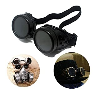 T&B Vintage Steampunk Goggles Glasses Cosplay Cyber Punk Gothic Halloween Face Mask (1 Black + 1 Copper)