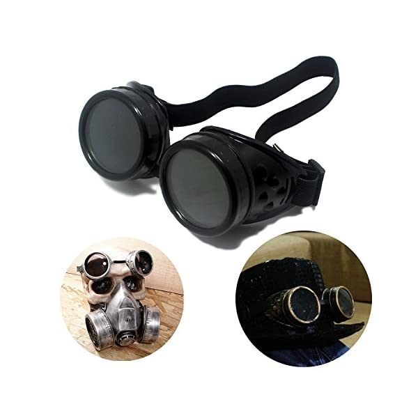 T&B New Colored Diamond Lens Vintage Steampunk Goggles Glasses Welding Cyber Punk Black 3