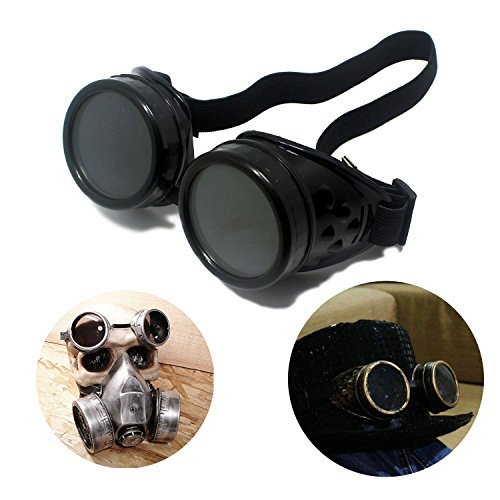 T&B Vintage Steampunk Goggles Glasses New Sell Cyber Punk Black -