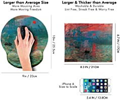 Great for Gaming /& Work Matching Microfiber Cleaning Cloth for Glasses /& Screens Claude Monet Impression Sunrise Ergonomic Design Mouse Pad with Wrist Rest Hand Support Round Large Mousing Area