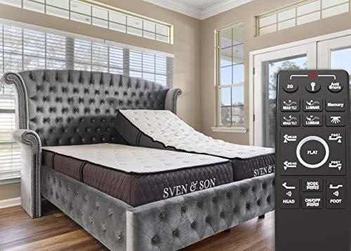 "Sven & Son Split King Adjustable Bed Base Frame + 12"" Luxury Cool Gel Memory Foam Mattress, Head Up Foot Up, USB Ports, Zero Gravity, Interactive Dual Massage, Wireless, Classic (Split King)"