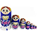 Beautiful Gold Glitter Blue Little Girl Flower Pattern Handmade Wooden Russian Nesting Dolls Matryoshka Dolls Set 7 Pieces For Kids Toy Birthday Christmas Gift Home Decoration