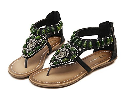 Flat Women's Aisun Sandals Cut Black With Low Thong Comfy Beads aX77qdx