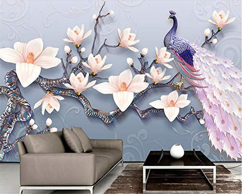 (3D Wallpaper Mural Custom Wallpaper 3D Embossed Jade Orchid Peacock European Fresh Tv Background Wall Living Wall Murals Silk Cloth Send Glue)