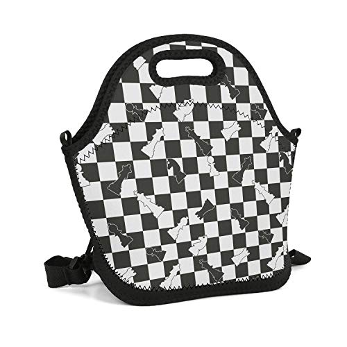 SHIWERJHC Chess Black White Checkerboard Neoprene Lunch Tote Funny Insulated Thermal Reusable Lunch Bag Box for Women Men Child School Work Outside Picnic