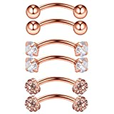 Ruifan 3PRS 16G 3/8'' (10MM) Stainless Steel 3mm CZ/Gems/Ball Curved Barbell Eyebrow Tragus Lip Belly Ring Piercing Jewelry - Rose Gold