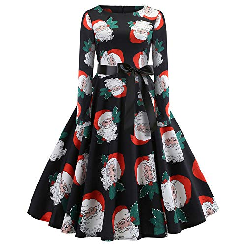iYBUIA Christmas Print Long Sleeve Dress, Women's Vintage Print Long Sleeve Christmas Evening Party Swing Dress(X-Black,CN:L/US:6) -