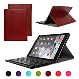 iPad Air 2/iPad 6 Keyboard Case, Symbollife Light Brown Folding PU Leather Folio Case Cover & Stand with Removable Bluetooth Keyboard for Apple iPad Air 2 (iPad 6th Gen) 2014 Version