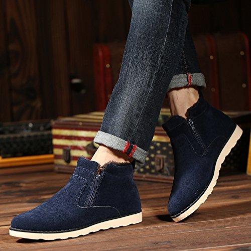 ... JACKSHIBO Herren Winter Wildleder Stiefeletten Mode Light Desert Boots  Kurzschaft Stiefel Blau 59f15b40ac