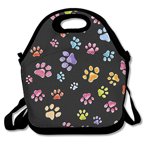 Jiqnajn6 Dog Gone Pawful Paws Insulated Neoprene Lunch Bag Kids & Adults Zipper Lunch Tote Handbag with Adjustable Strap Lunchbox for School Office -
