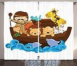 Noahs Ark Decor Curtains 2 Panel Set Epic Historical Story of Noahs Ark with All Animals Saving Nature Grace Illustration Living Room Bedroom Decor Multi