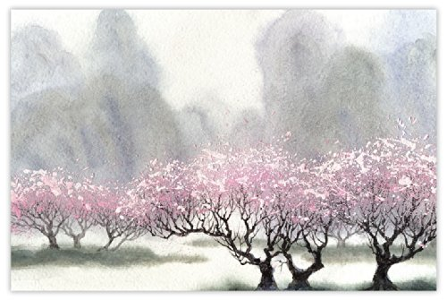 Picture Sensations Glow in The Dark Canvas Wall Art, Abstract Nature Mountain Cherry Blossom by Picture Sensations