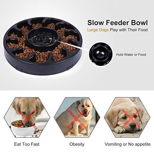 JASGOOD Slow Dog Bowl for Large Dogs,Fun Feeder Dog Bowl,Anti-Gulping Dog Slow Feeder Stop Bloat,Slow Eating Big Pet Bowl (A-Black)
