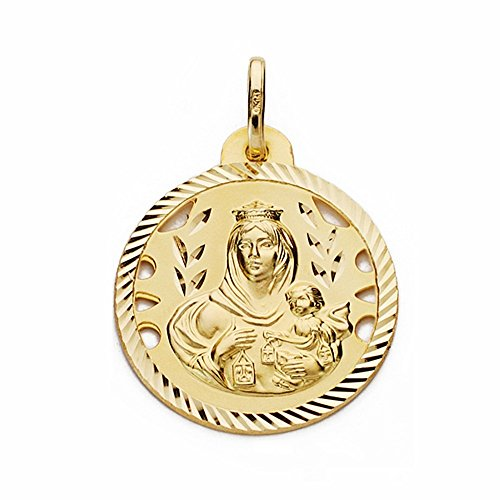 Médaille pendentif 18k or Virgen del Carmen 22mm sculpté ajouré clôture [AA2471GR] - personnalisable - ENREGISTREMENT inclus dans le prix