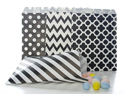 Black Candy Bags (100 Pack) - Graduation Party Supplies, Wedding Party Favor Bags, Birthday Treat Gift (Graduation Favor Ideas)