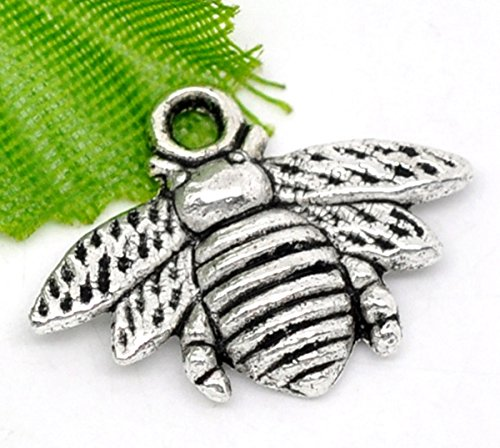 Housweety 50pcs Metal Pendants Silver