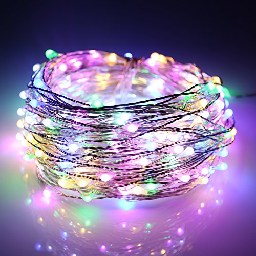 Lights Christmas 12 Volt (ER CHEN Led String Lights 200 Leds Multicolored Color on Silver wire 66ft LED Starry Light with 12V Power Adapter + Remote Control For Christmas Wedding and Party)