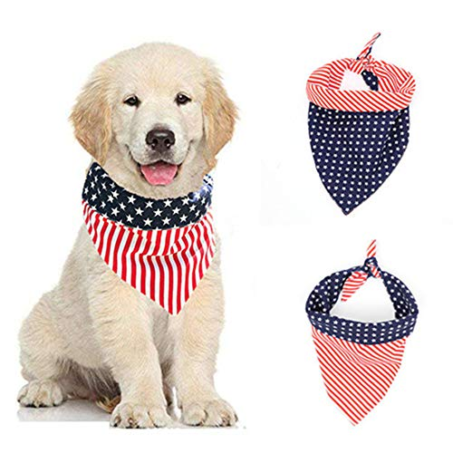 Orgrimmar American Flag Dog Bandanas Bibs Triangle Scarfs Washable Cat Pet Collar Large Bandana Puppy Kerchief for 4th of July Independence Day Dog Neck Bandana