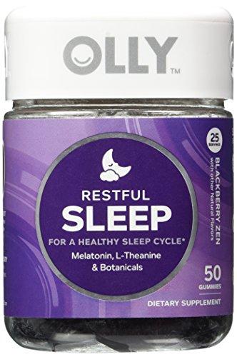 OLLY Restful Sleep Gummy Supplements, Blackberry Zen, 50 Count