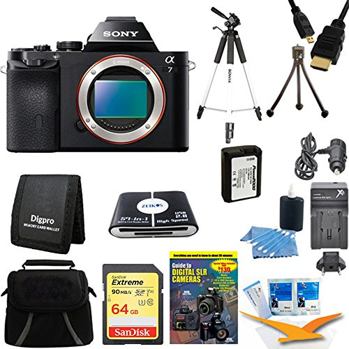 Cheap Sony 24.3MP a7 ILCE7 Full-Frame Interchangeable Lens Camera – Body Only – Includes Camera, 64GB SDXC Memory Card, NP-FW50 Camera Battery, Carrying Case, and more