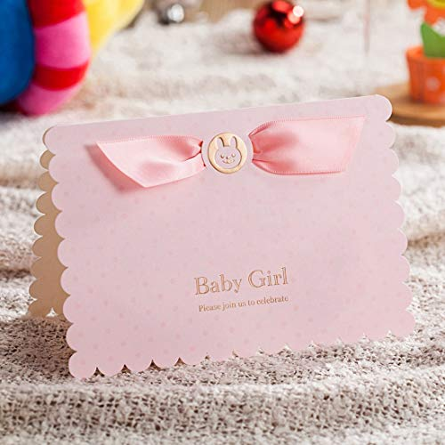 (WISHMADE 20 Count Invitations Cards Kits Pink Printable for Girls Birthday Baby Shower with Envelopes)