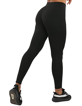 5221be56869ed NORMOV Butt Ruched Workout Leggings for Women- V Shape Waist Stretchy  Fitness Yoga Pants Black