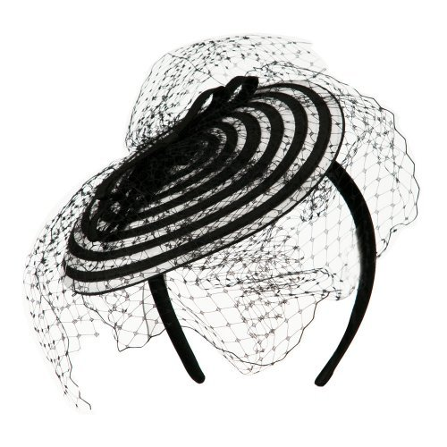 Swirl Pattern Fascinator Hat with Headband - White Black OSFM