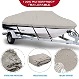 NORTHCAPTAIN 100% Waterproof Boat Cover,600D Marine Grade Polyester Trailerable Boat Cover,Fit V-Hull Tri-Hull Fishing Ski Pro-Style Bass Boats