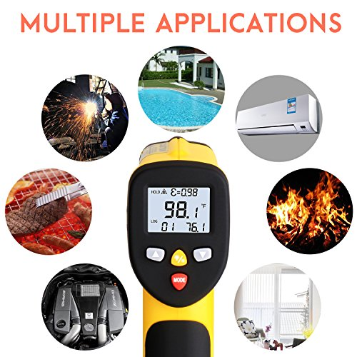 Dual Laser Infrared Thermometer, Zenic Professional Non-Contact Digital Temperature Measuring Gun with Adjustable Emissivity for Cooking / Brewing / Automobile & Industries, -50-650℃, D:S=12:1 by zenic (Image #5)