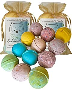 "Double Set, 12 Wholesale Bath Bombs from Enhance Me- Handmade with Organic Sustainable Palm Oil and Lush Shea Butter Organic Sustainable Palm Oil, ""See, Smell and See The Difference"""