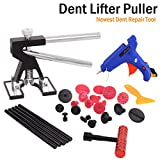 WHDZ Car Dent Repair Tools Dent Puller Paintless Removal Kit Black Dent Lifter with 19pcs Dent Removal Pulling Tabs Suction Cup Plate Glue Gun Pro Glue Sticks for Car Auto Body Hail Damage Remover