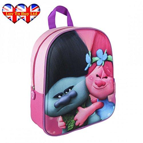 3D Trolls Backpack,Official Licensed Trolls Backpack Branch & Poppy 3D