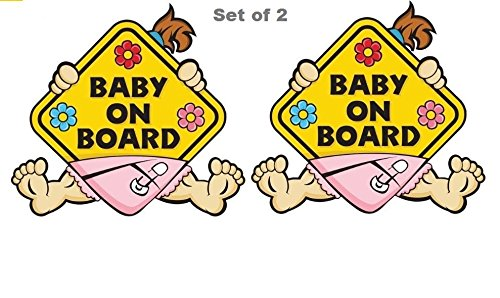 Set of 2 Baby on Board Girl Sticker Reflective Baby Safety 1st Sign (Adhesive) Bumper Decal for Car Truck Window Inside Vinyl