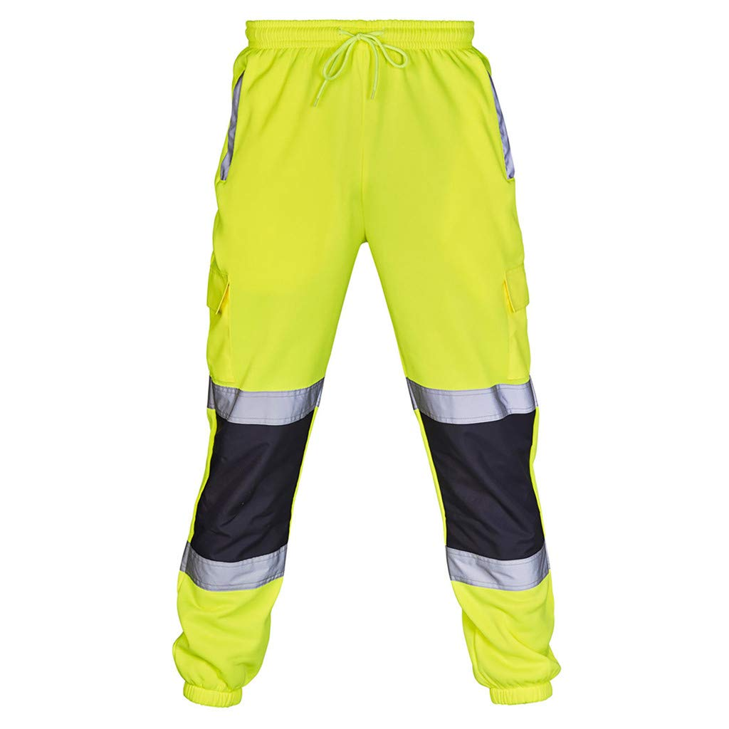 VICCKI Men Road Work High Visibility Overalls Casual Pocket Work Casual Trouser Pants