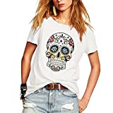 Search : Weigou Woman T Shirt Floral Skull Contrast Color Junior Tops Tee Punk Street Style Lady Shirt