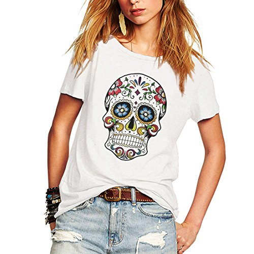 Weigou Woman T Shirt Floral Skull Contrast Color Junior Tops Tee Punk Street Style Lady Shirt (S, White)