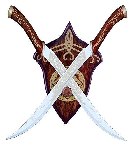 Lord of The Rings Legolas Fighting Knives Red Or Black Elven LOTR Swords Plaque - PK9099 (RED)