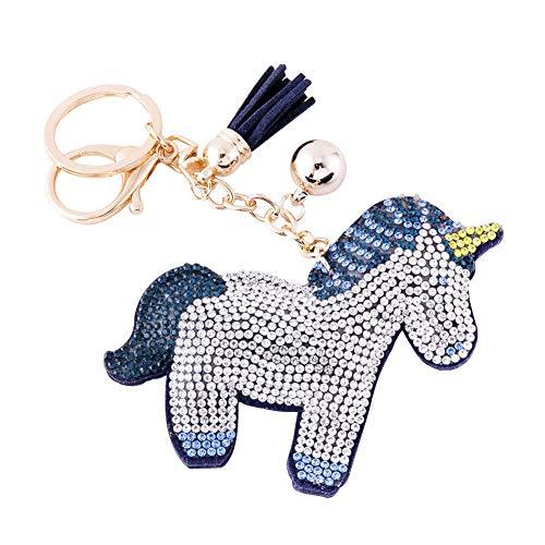 Blue Glitter Key Chain - Soleebee Glitter Unicorn Keychain Premium SS6 Crystal Tassel Key Chain Leather Bag Charm for Women Girls (Blue)