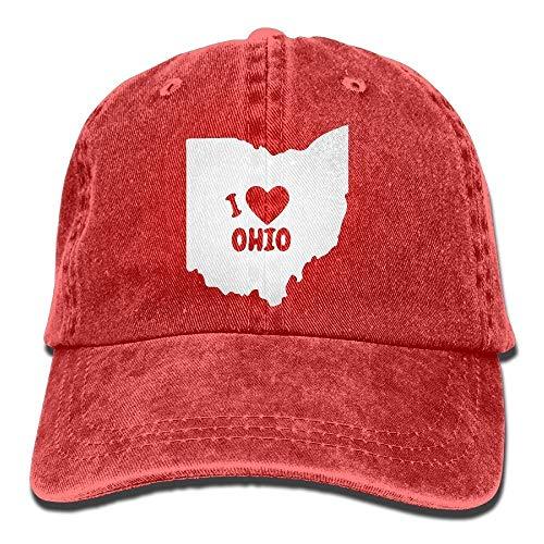 (ABOUtshoc I Love Ohio State 1 Vintage Jeans Baseball Cap Red Novelty Funny Hat Adjustable for Men Women Kids)