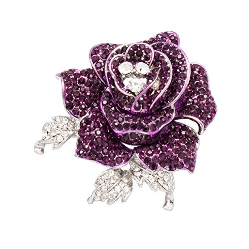 (SEPBRIDALS Rhinestone Crystals Wedding Bridal Rose Flower Brooch Pin Broach for Women Jewelry (Purple))