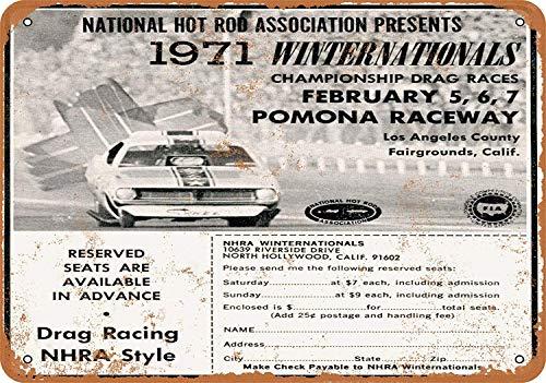 Iliogine 1971 NHRA Winternationals Vintage Look 8 x 12 Metal Tin Sign Wall Art Post Decor