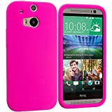 Cell Accessories For Less (TM) Hot Pink Silicone Soft Skin Case Cover for HTC One M8 Bundle (Stylus & Micro Cleaning Cloth) - By TheTargetBuys