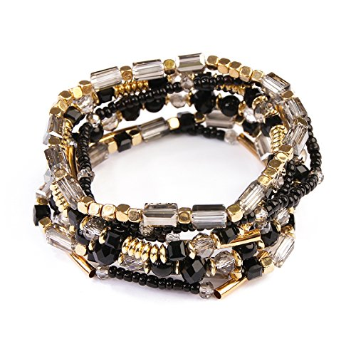 RIAH FASHION Bohemian Bead Multi Layer Versatile Statement Bracelets - Stackable Beaded Strand Stretch Cuff Bangles Sparkly Crystal, Tassel Charm