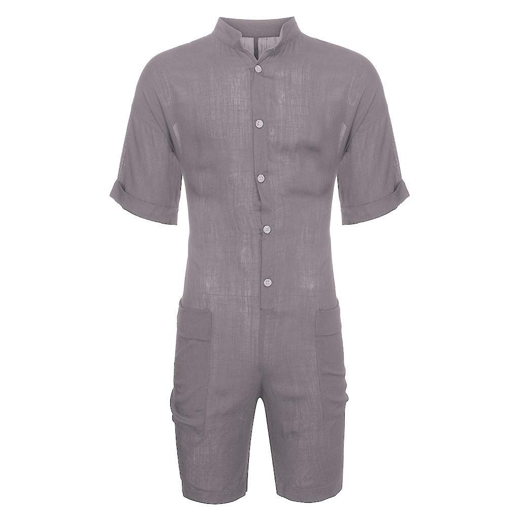 TIANMI Fashion Mens Loose Fit Short Sleeve Casual Summer Leisure Cargo Jumpsuits Romper Shirts Fashion Pants