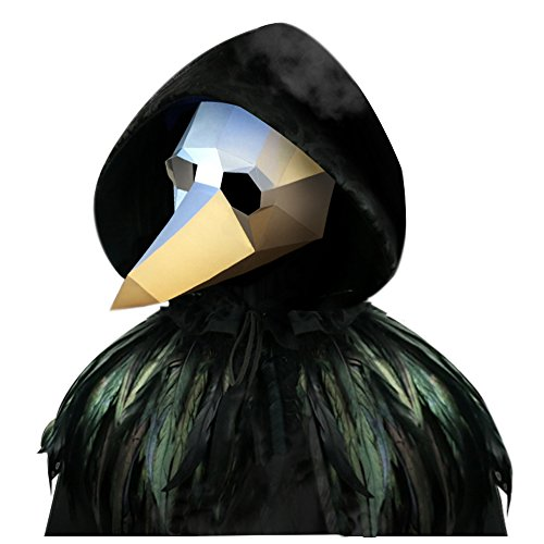 L'vow Gothic Feather Cape Long Cloak Plague Beak Mask Halloween Cosplay Costume Kits (Silver and Black)