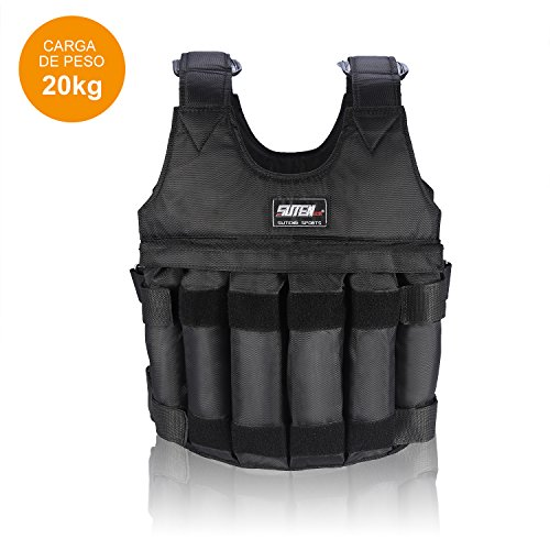Yosoo 44lb/20 kg Weighted Vest Workout Peso Chaqueta Ejercicio Boxeo Fitness Training (20Kg)