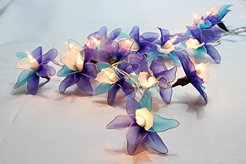 GaanZaLive36 Thai Handmade 20 Romantic Orchid Handmade Flower Fairy String Lights Patio Wedding Party Vanity Kid Wall Lamp Floral Home Decor 3m - Thousand Eyeglasses Oaks
