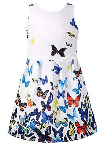 (Jxstar Swing Dresses Girls Butterfly Sundress Sleeveless Kids 7-16 Party Princess White)
