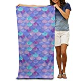 ZMLSJY Beach Towel Purple Fish Scales Premium Soft Bath Towel Suitable For Beach Bath Hotel